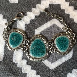 Silver and Aqua marine bohemian bracelet
